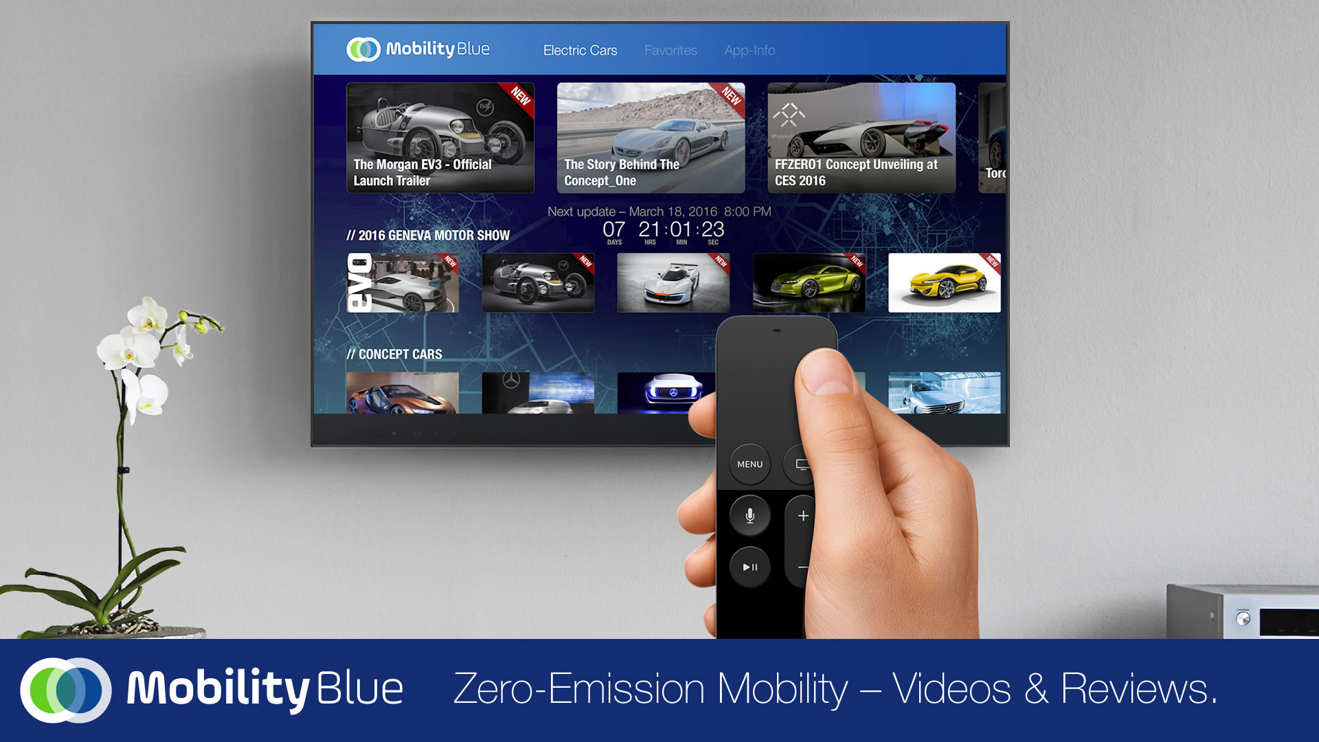 MobilityBlue Apple TV App zero emission vehicles and connected car