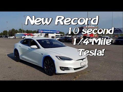 1/4 Mile Record – First 10 Second Ludicrous Tesla P90D